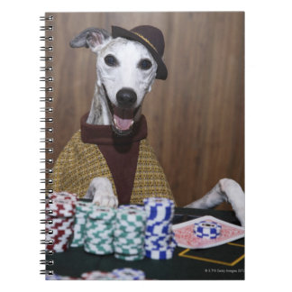 Dressed up Whippet dog at gambling table Spiral Notebook