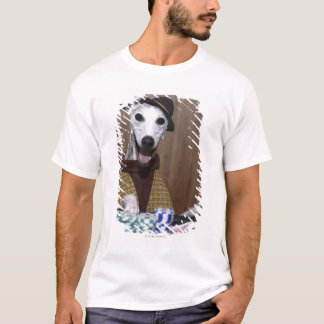 Dressed up Whippet dog at gambling table T-Shirt