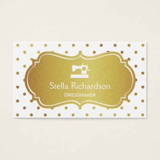 Dressmaker Seamstress Chic White Gold Polka Dots Business
