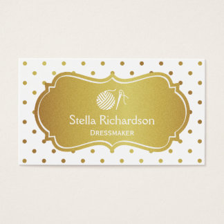 Dressmaker Thread Ball Knitting - White Gold Dots Business Card