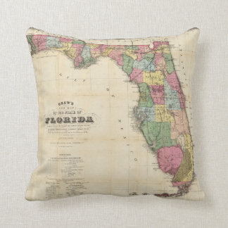 Drew's New Map Of The State Of Florida Cushion