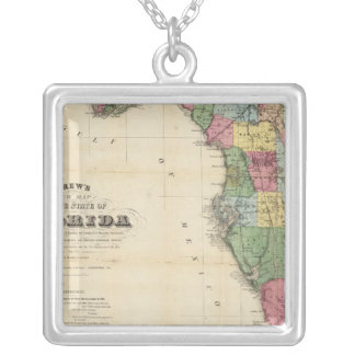 Drew's New Map Of The State Of Florida Silver Plated Necklace