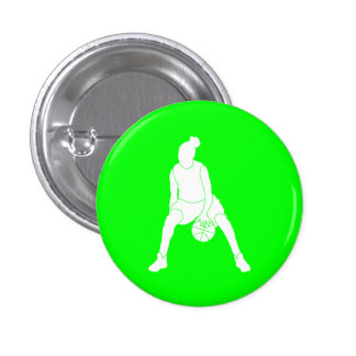 Dribble Silhouette Button Green
