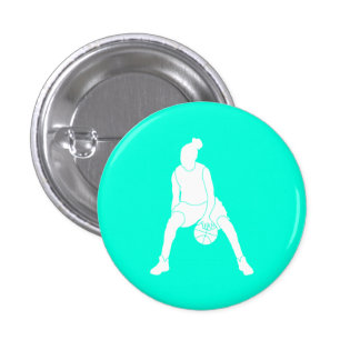 Dribble Silhouette Button Turquoise