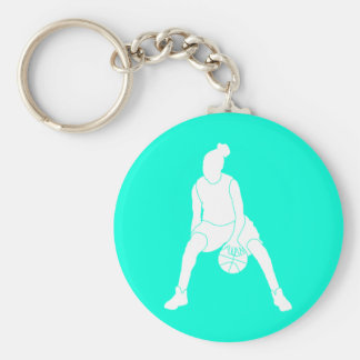 Dribble Silhouette Keychain Turquoise