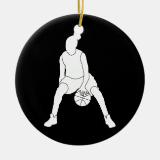 Dribble Silhouette Ornament w Name Black