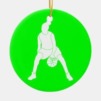 Dribble Silhouette Ornament w/Name Green