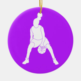 Dribble Silhouette Ornament w/Name Purple