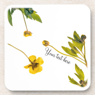 Dried buttercup flowers coaster