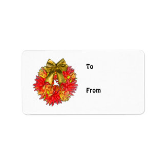 Dried Chili Pepper Wreath & Gold Bow Address Label