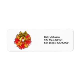Dried Chili Pepper Wreath & Gold Bow Return Address Label