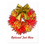 Dried Chilli Pepper Wreath & Gold Bow Post Cards