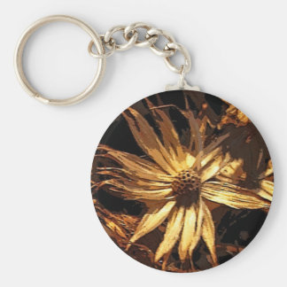 Dried Flower Abstract Basic Round Button Key Ring
