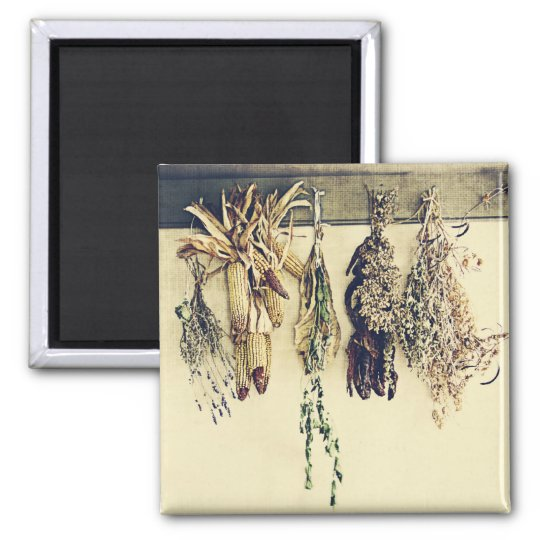 dried herbs, lavender and corn rustic still life square magnet