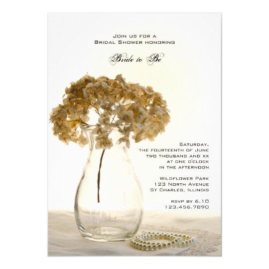 Dried Hydrangeas Bridal Shower Invitation