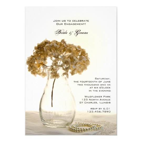 Dried Hydrangeas Engagement Party Invitation
