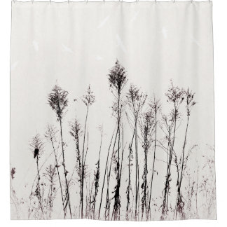 Dried Ragweed and Flying Birds Understated Nature Shower Curtain