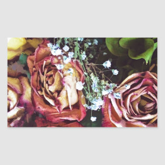 Dried Roses and Babies Breath Rectangle Stickers