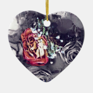 Dried Roses Black and Grey Ceramic Heart Decoration