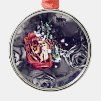 Dried Roses Black and Grey Silver-Colored Round Decoration