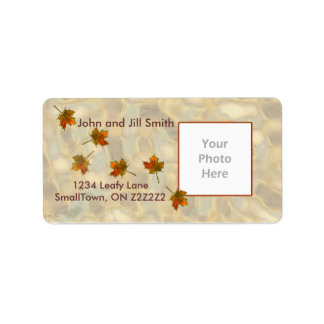 Drifting Fall Leaves Thanksgiving Photo Frame Address Label