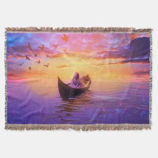 Drifting In A Boat Fantasy Throw Blanket