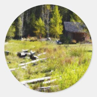 Driftwood and Cabin in Autumn Round Sticker