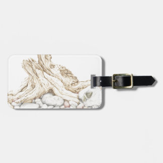 Driftwood and Pebbles Still Life in Colour Pencil Luggage Tag
