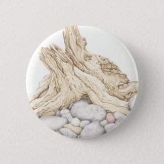 Driftwood and Pebbles Still Life in Pencil 6 Cm Round Badge