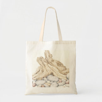 Driftwood and Pebbles Still Life in Pencil Tote Bag