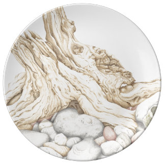 Driftwood and Pebbles Still Life Porcelain Plate