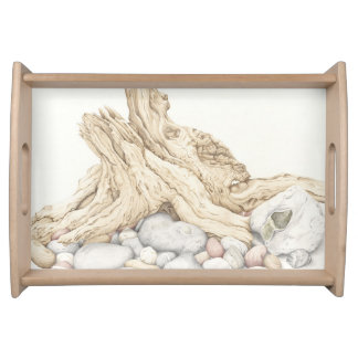 Driftwood and Pebbles Still Life Serving Tray