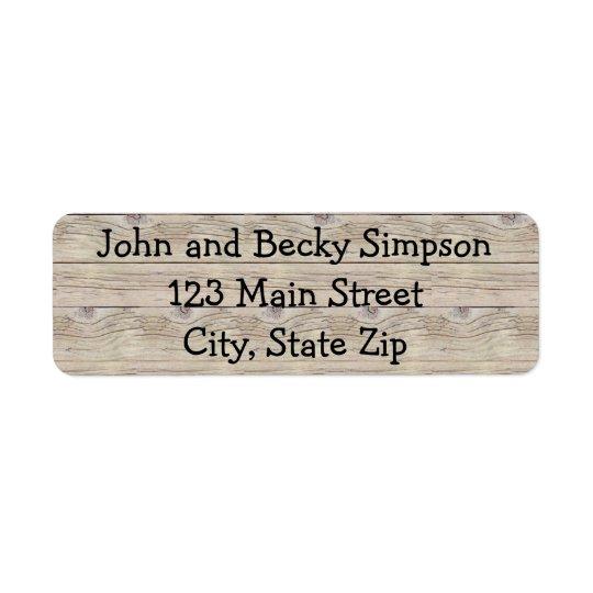 Driftwood Background Return Address Label