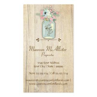 Driftwood Barn Wood Rustic Mason Jar Garden Floral Business Cards