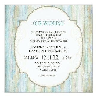 Driftwood Ocean Beach Coastal Seashore Wedding 13 Cm X 13 Cm Square Invitation Card