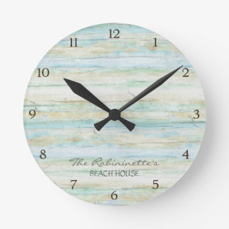Driftwood Ocean Beach House Coastal Seashore Round Clock