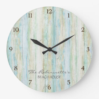 Driftwood Ocean Beach House Coastal Seashoredriftw Wall Clocks