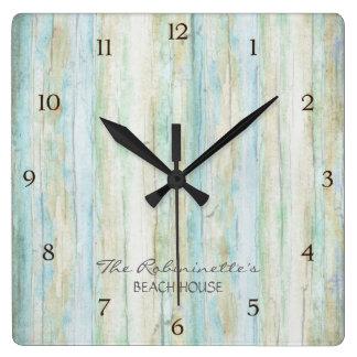 Driftwood Ocean Beach House Coastal Seashoredriftw Square Wall Clock