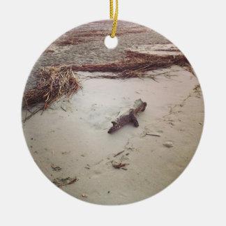 Driftwood on Sullivans Island Round Ceramic Decoration