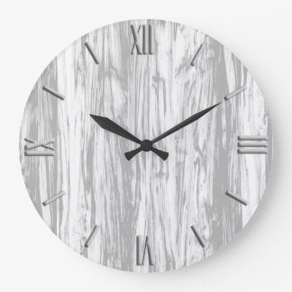 Driftwood pattern - grey / gray and white large clock