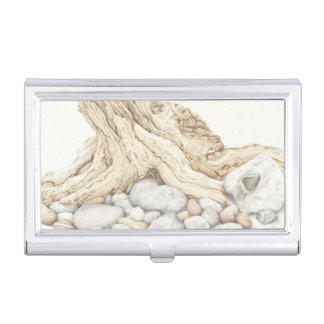 Driftwood & Pebbles Drawing Business Card Holder