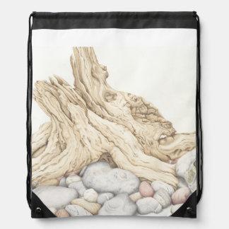Driftwood & Pebbles in Pencil Drawstring Bag