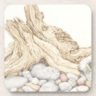 Driftwood & Pebbles Plastic Coasters