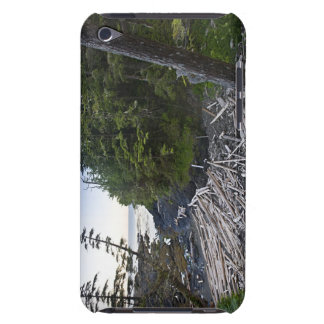 Driftwood piled up on a small secluded beach barely there iPod case