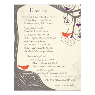 Driftwood Tree Swirl Direction Card Personalized Announcements