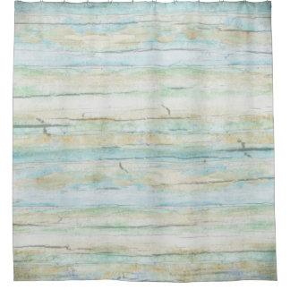 Driftwood Watercolor Beach Coastal Horizontal Wood Shower Curtain