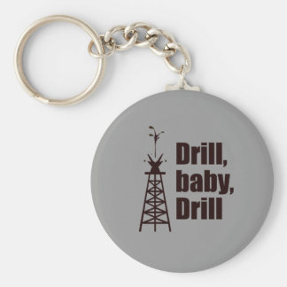 Drill Baby Drill Basic Round Button Key Ring