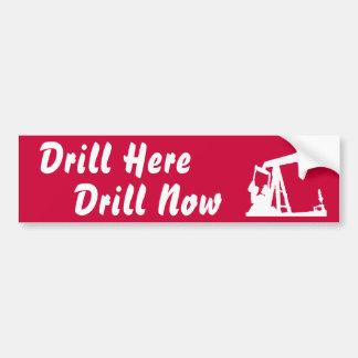 Drill Here Drill Now Bumper Sticker Dark Red