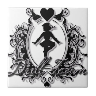 Drill Team Girl in a Heart Frame Small Square Tile