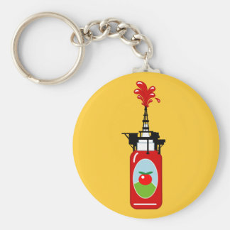 Drilling For Ketchup Basic Round Button Key Ring